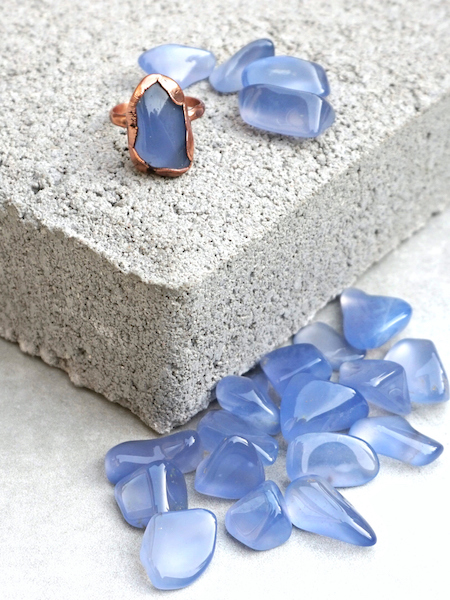 Electroform ring – tumbled blue chalcedony