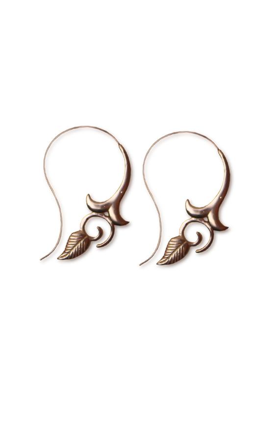 Floral_Leaf_Handmade_Spiral_Earrings_RoseGold_Aanya_2