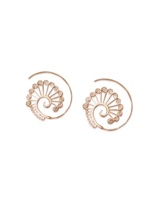 Peacock_Feathers_Handmade_Spiral_Earrings_Rosegold_Aanya_2