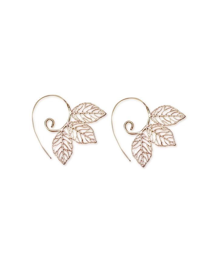 Three_Leaf_Handmade_Spiral_Earrings_RoseGold_Aanya_2