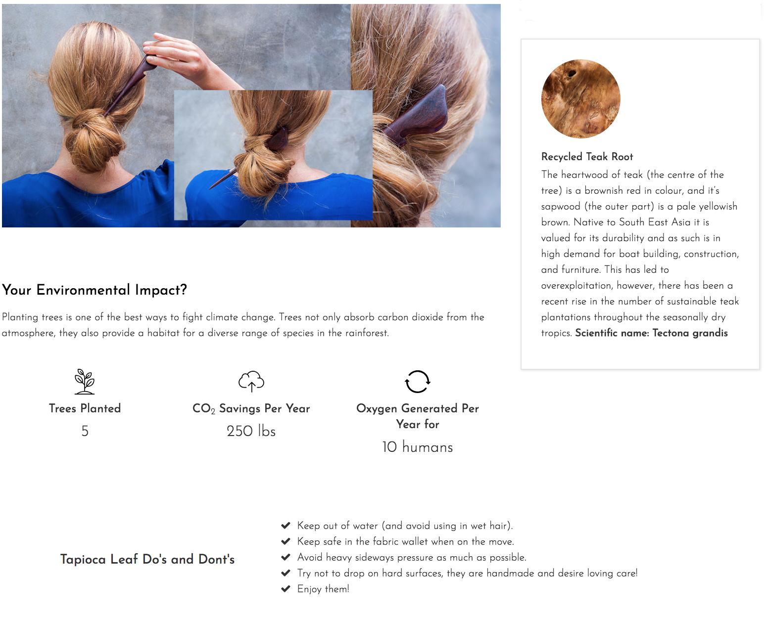 About the Tapioca Hair Stick Environmental Impact