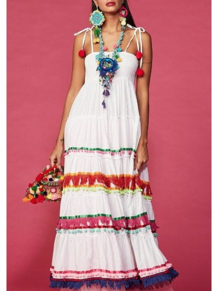 WHITE BANDEAU MAXI DRESS RONY