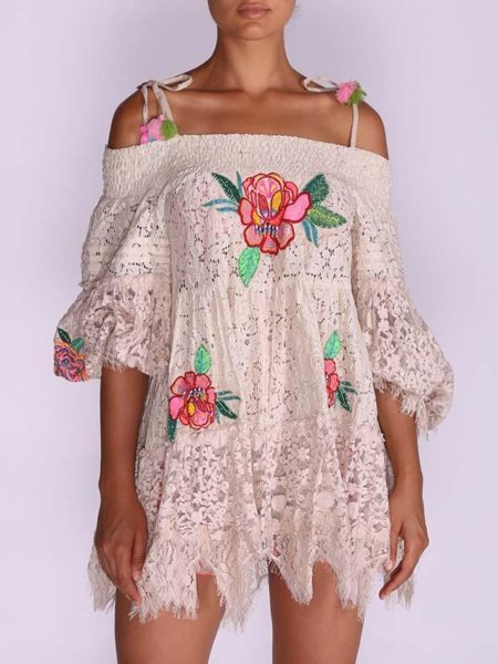 WHITE LACE OFF SHOULDER DRESS LUNA