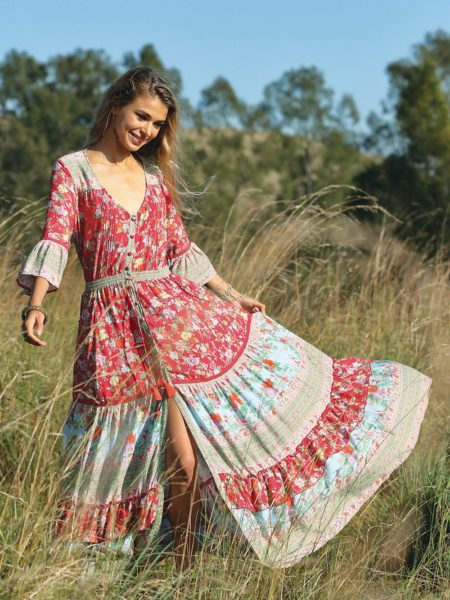 Havillah Maxi Dress – Rococo Red