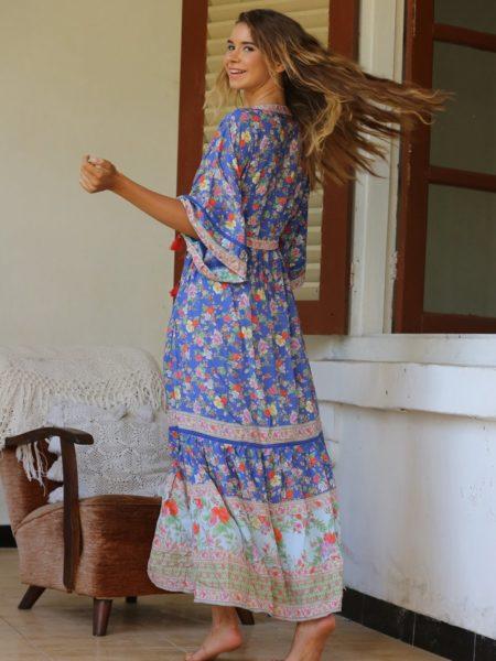 Pishon Kimono Dress – Lapis Lazuli