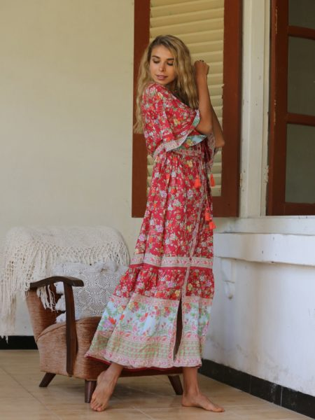 Pishon Kimono Dress – Rococo Red