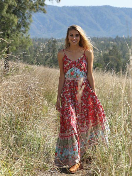 Ravennah Maxi Dress – Rococo Red