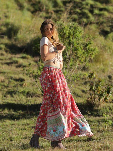 Ravennah Maxi Skirt – Rococo Red