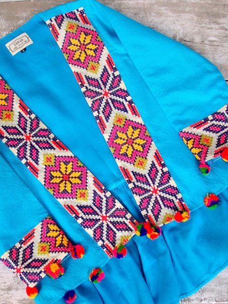 embroidered kimono jacket – blue