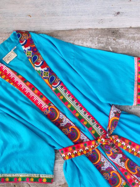 embroidered maxi kimono – blue