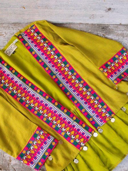 embroidered kimono jacket – lime