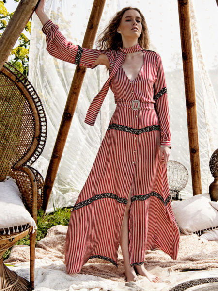 HUBRIS STRIPED CUT OUT KIMONO DRESS