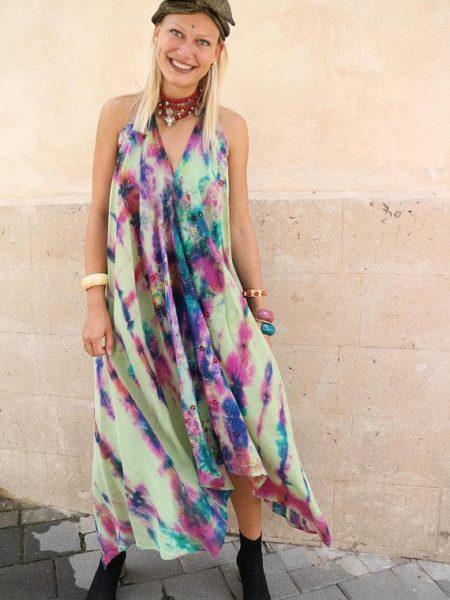 Magic Garden Udana Dress – Handmade, Embroidered, Tie Dye