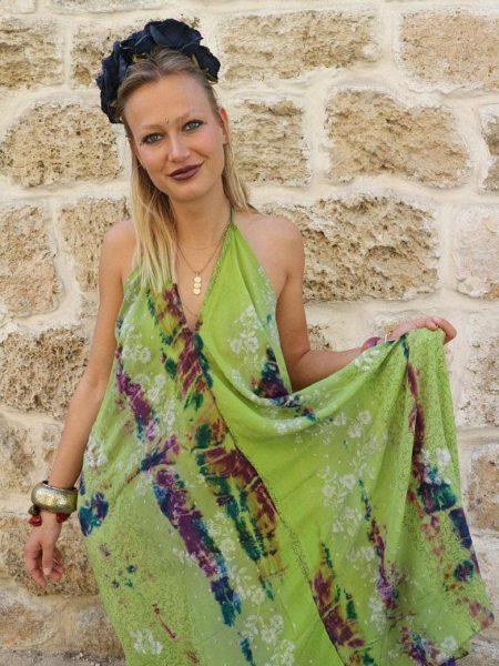 Tropical Flowers Udana Maxi Dress – Green, Purple, White