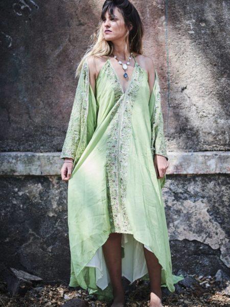 Sun Fields Luxury Set – Gold, White, Maxi Dress and Kimono