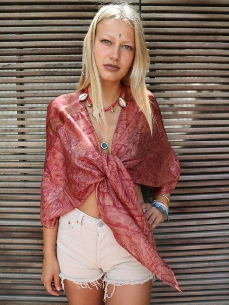 Silk Jaipur Tie Blouse – Pink, Red