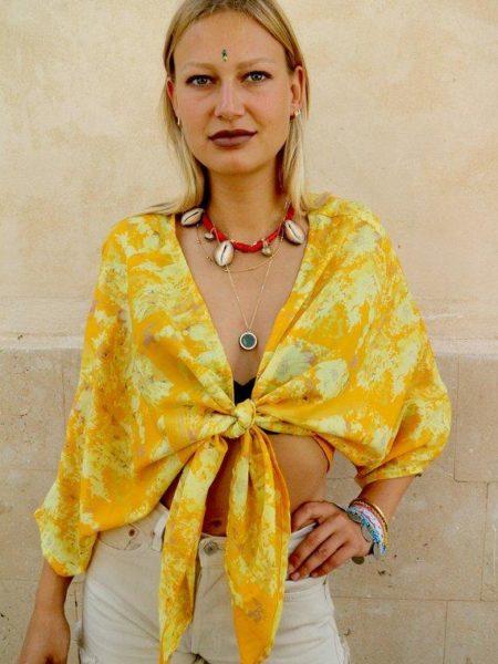 Silk Buttercup Tie Blouse – Yellow, Cream