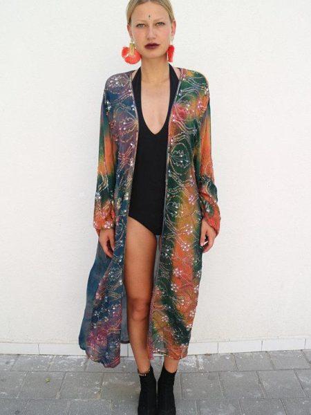 Galaxy Maxi Kimono – Green, Blue, Orange