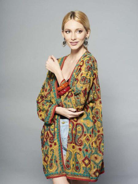 Mustard Kimono – Green, Red, Sequined