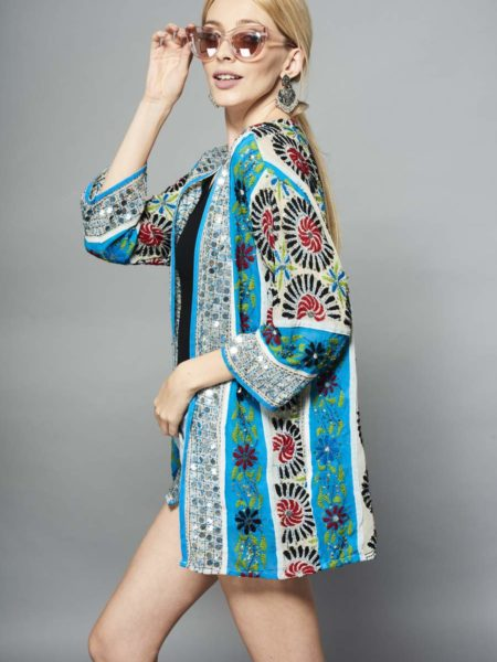 Andaman Waters Embroidered Kimono – Blue, Red, Sequin, White