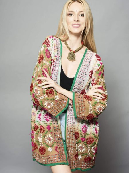 Hand Embroidered Kimono – Ombre White, Cream, Pink
