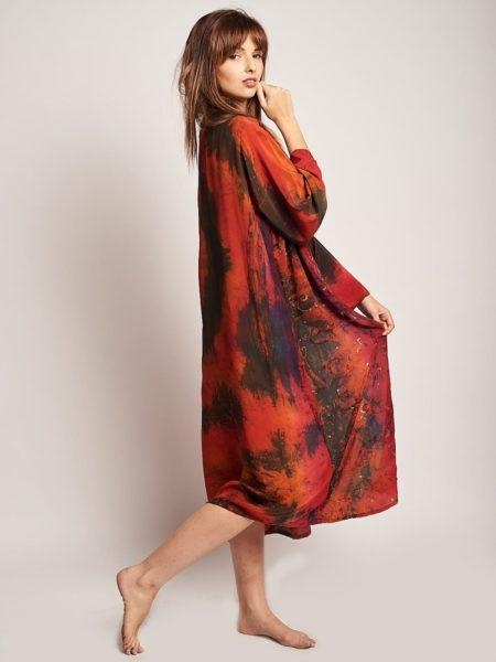 Namibia Maxi Kimono – Red, Orange, Sequin