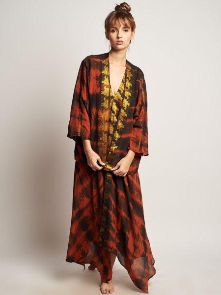 Amber Shanti Set – Brown Gold Maxi Dress and Kimono