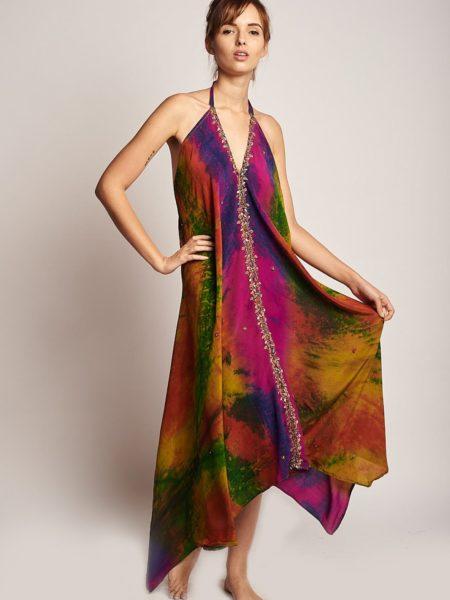 Color Crystals Udana Maxi Dress – Pink, Green