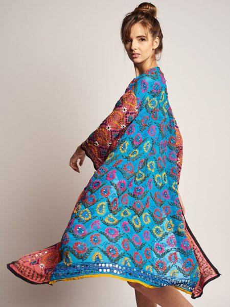 Maxi Raja Kimono – Pink, Blue Sequined