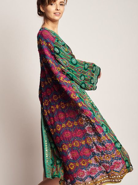 Maxi Raja Kimono – Green, Purple Sequined