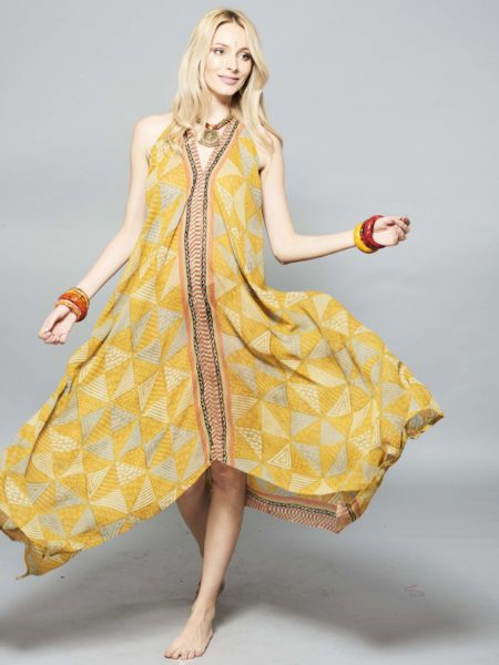 Pyramids Udana Maxi Dress – Yellow, Gold, Black