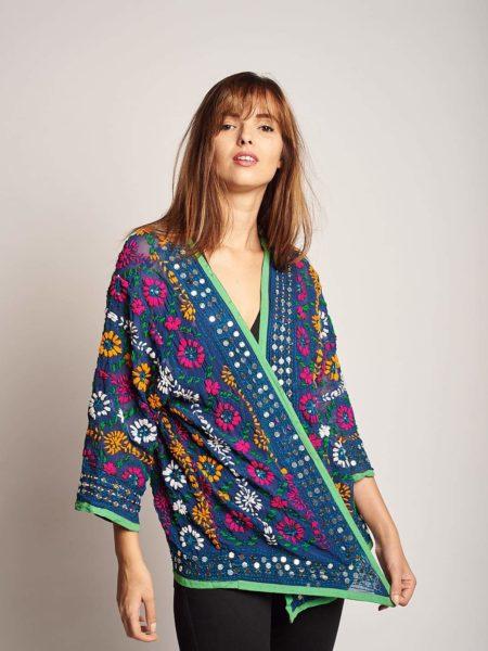 Deep Blue Kimono – Embroidered Jacket, Sequined