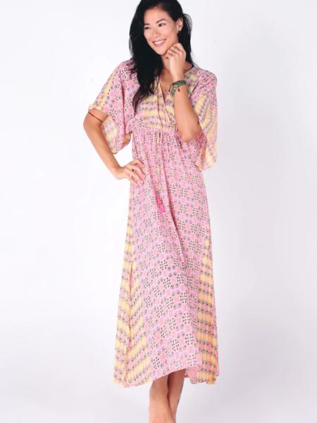 HASINA BOHO MAXI DRESS   BABY PINK PRINT