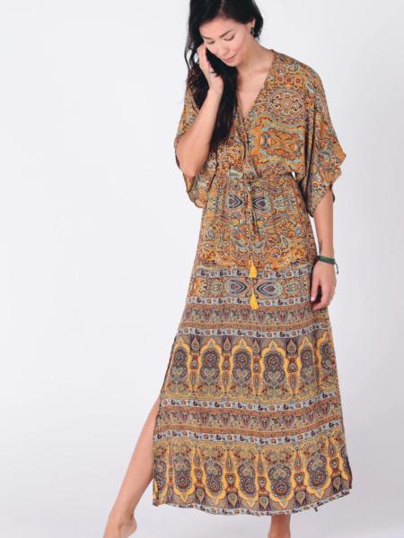 HASINA BOHO MAXI DRESS   YELLOW SARI PRINT