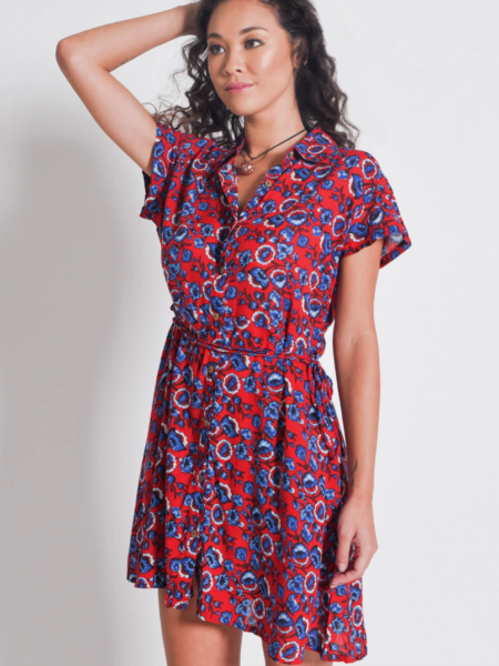 SHIRT DRESS WITH BELT   RED FLORAL