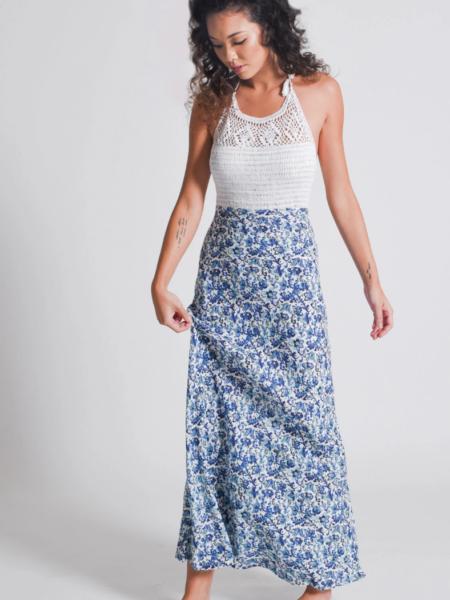 WANDERER CROCHET MAXI DRESS   BLUE