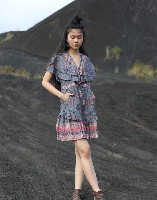 Yasmine Mini Dress – Teal