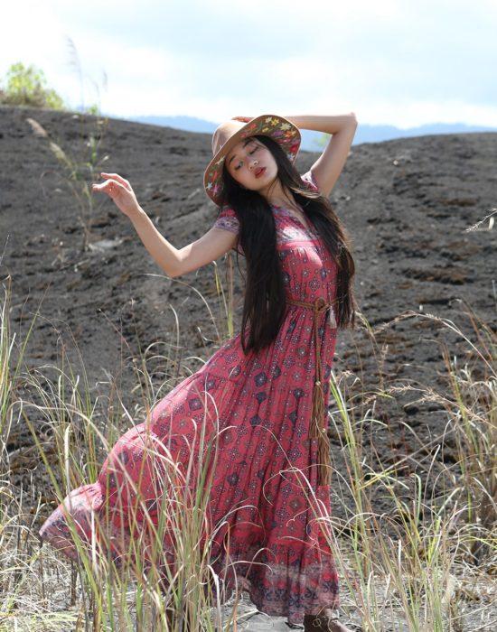 Zaara Frill Maxi Dress – Scarlet