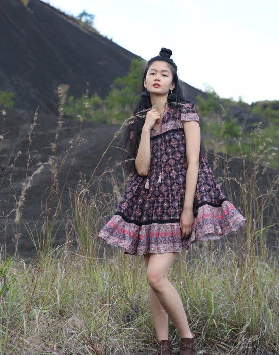 Zaara Frill Mini Dress – Moonless Night