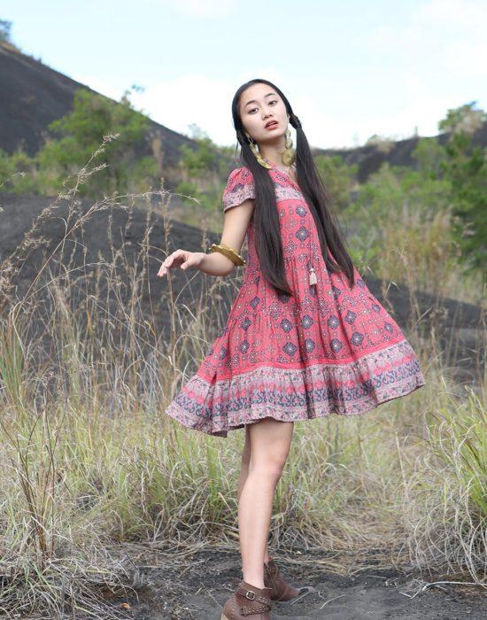 Zaara Frill Mini Dress – Scarlet