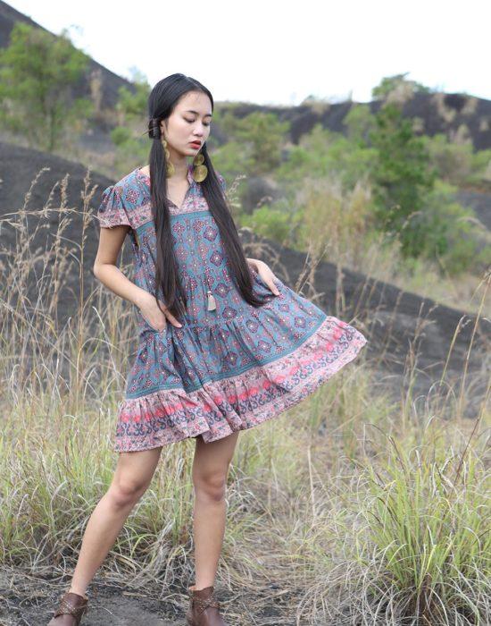 Zaara Frill Mini Dress – Teal