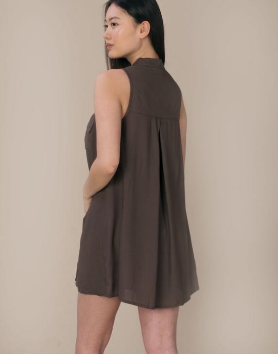 Sleeveless Shirt Dress | Khaki Green