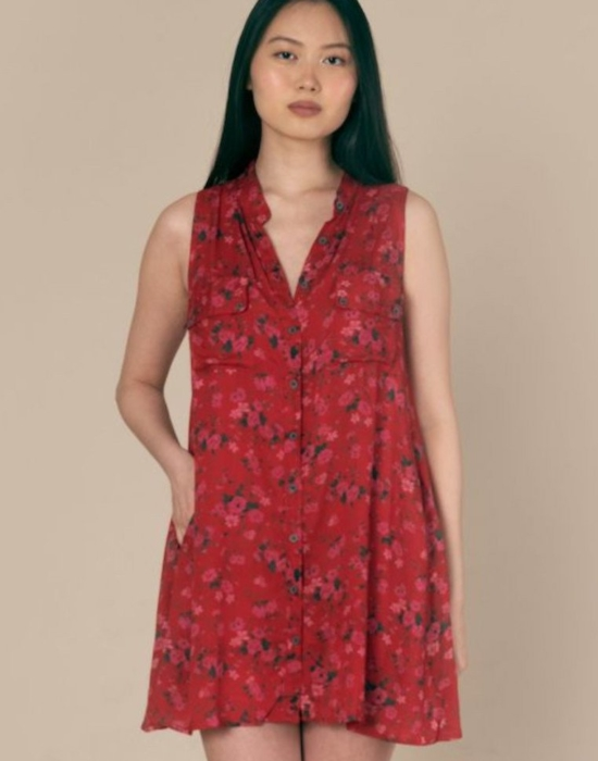 Sleeveless Shirt Dress | Red