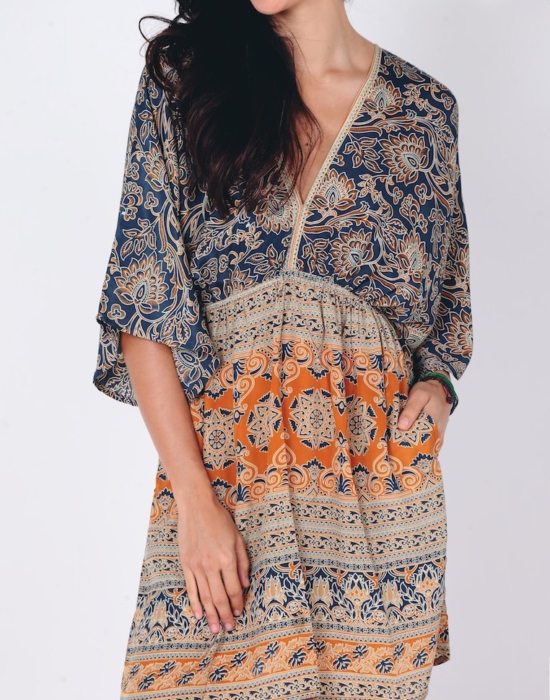 Hasina Midi Dress | Blue Gold
