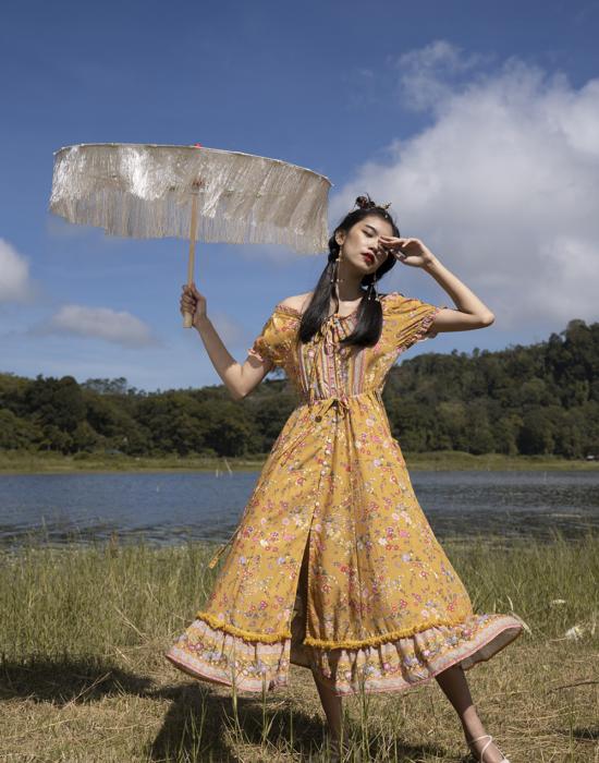 Wulan Midi Dress – Chinese Gold