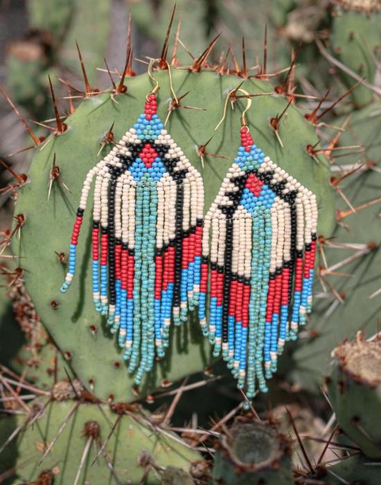 water & fire seed bead earrings