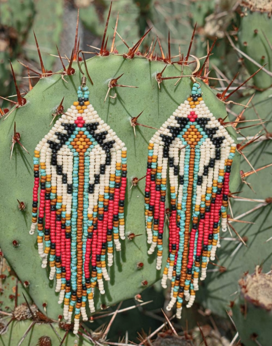 child of the universe seed bead earrings