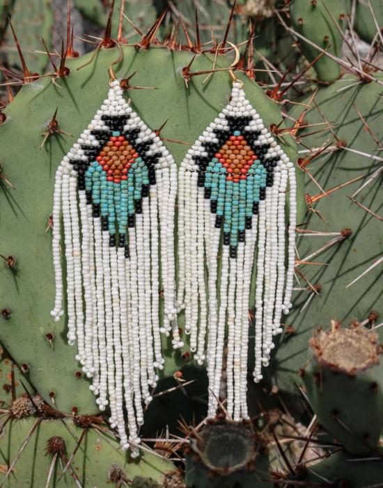 Goddess seed bead earrings