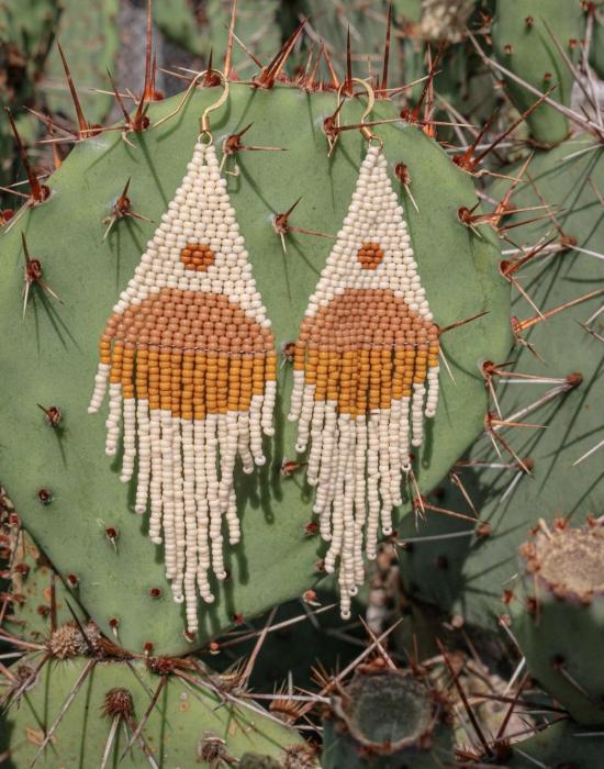 balance seed bead earrings