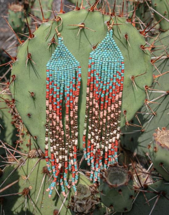 the sun kisses the ocean seed bead earrings